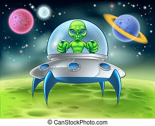 Cartoon Alien UFO Flying Saucer on Planet