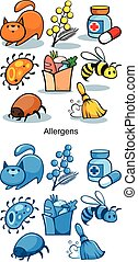 Cartoon Allergen Icons Set