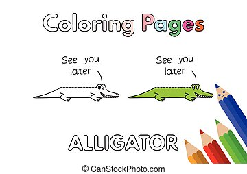 cartoon alligator coloring book - Letter A Alligator Coloring Pages