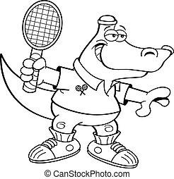 Cartoon alligator playing tennis