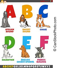 Cartoon Illustration of Colorful Alphabet Set from Letter A to F with Funny Purebred Dogs Animal Characters