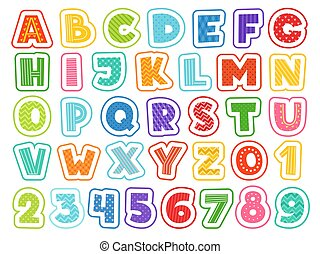 Cartoon alphabet. Cute colored letters numbers signs and symbols for school kids and childrens vector funny font