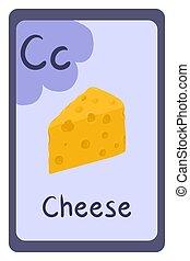 Cartoon alphabet food flash card for education. Letter C - cheese.
