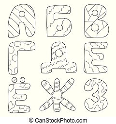 Cartoon alphabet for children design. Russian letters. for kids - coloring book