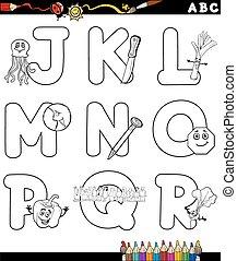 cartoon alphabet for coloring book - Black and White Cartoon...