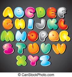 Cartoon Alphabet - Joyful Cartoon font type - letter from A...