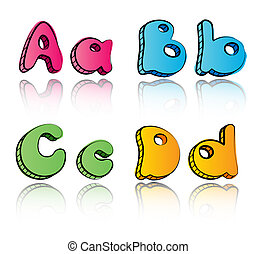 Cartoon alphabet letters on paper background - ABCD