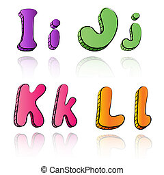Cartoon alphabet letters on paper background - IJKL