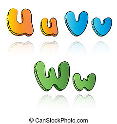 Cartoon alphabet letters on paper background - UVW
