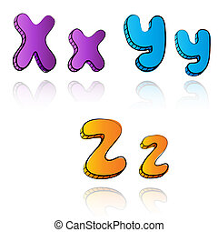 Cartoon alphabet letters on paper background - XYZ