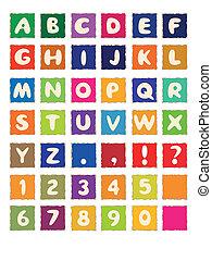 cartoon alphabet on square colored paper ABC font