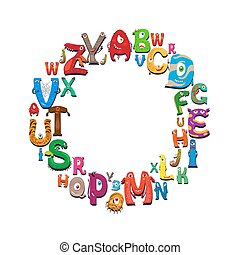 Cartoon alphabet round frame