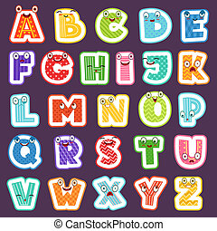 Cartoon alphabet with emotions. Colored cute font characters letters symbols signs and numbers vector alphabet for children