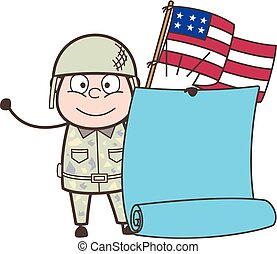 Cartoon American Army Man with Flag and Parchment Banner Vector Illustration