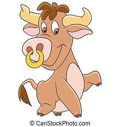 cartoon american bull - Cute and happy cartoon american bull...