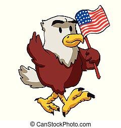 Cartoon American eagle holds American flag