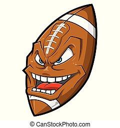 Cartoon American football angry face