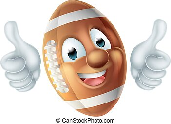 Cartoon American Football Ball Character