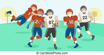 cartoon american football players