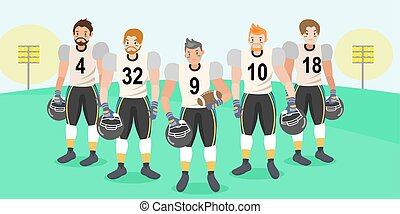 cartoon american football players