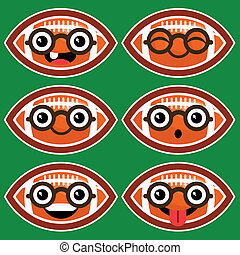 Cartoon American Footballs