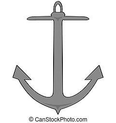 Cartoon anchor - Cartoon illustration of a grey ship's...