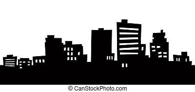 Cartoon Anchorage - Cartoon skyline silhouette of Anchorage,...