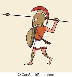 cartoon ancient greek warrior with spear