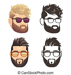 Cartoon and silhouette bearded hipster man set - Cartoon and...