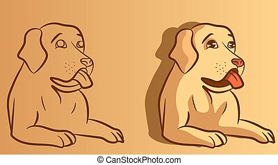 Cartoon and sketch vector of a dog with his mouth open. Golden retriever sitting and showing his tongue.