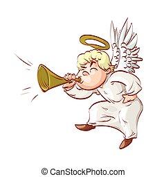 Cartoon angel blowing a trumpet