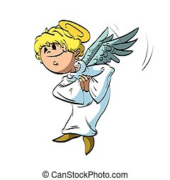 Cartoon angel - Colorful vector illustration of a cartoon...
