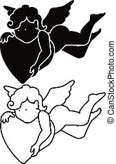 Cartoon angel silhouette and outline - Cartoon angel -...