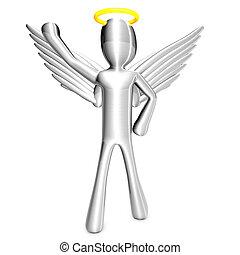 Cartoon Angel with Trash Can