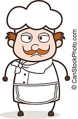Cartoon Anger Chef Face Vector Illustration
