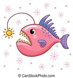 An angler fish swimmin...