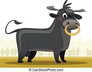 Cartoon angry and super strong bull mascot character vector illustration