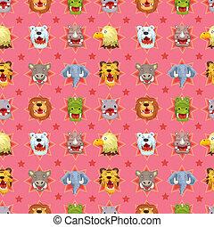 cartoon angry animal face seamless pattern