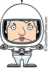 Cartoon Angry Astronaut Woman
