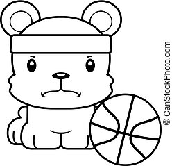 Cartoon Angry Basketball Player Bear