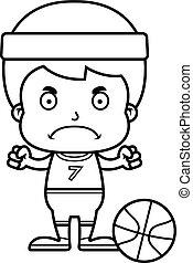 Cartoon Angry Basketball Player Boy