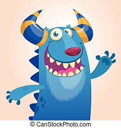 Cartoon angry blue monster yelling. Vector illustration with simple gradients. Halloween design for print or csticker