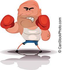 Cartoon Angry Boxer Champion - Illustration of a cartoon...