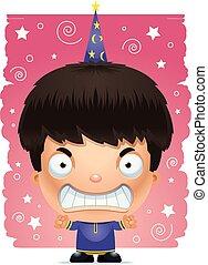 Cartoon Angry Boy Wizard