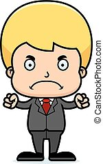 Cartoon Angry Businessperson Boy