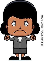 Cartoon Angry Businessperson Girl