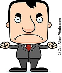 A cartoon businessperson man looking angry.