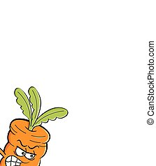 Cartoon angry carrot running.
