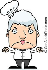 Cartoon Angry Chef Woman