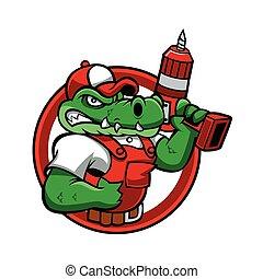 Cartoon angry crocodile mascot.handyman cartoon.